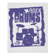 Blue rock drums,cool music logo with text poster