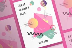 Posters   Summer Shop by Amber Graphics on @creativemarket Clean and modern poster concept with catchy design to create a neat presentation and showcase you work in the best way possible.