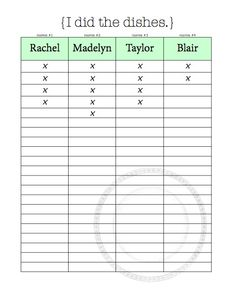 C Charts Organizational Tips For Living With Roommates Free Printables
