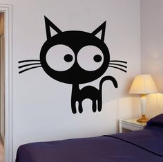 Wall Vinyl Stickers Funny Cat Kitty Pets Animals With Big Eyes Cool Decor z1564