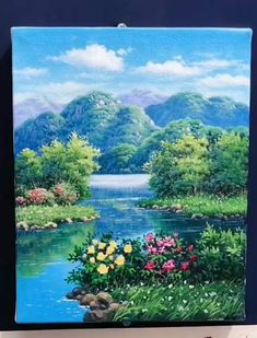 Beautiful Landscape Paintings, Scenery Paintings, Landscape Art, Landscape Oil Paintings, Canvas Painting Tutorials, Diy Canvas Art, Art Painting Gallery, Image Nature, Art Work