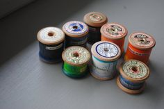 Hand painted cotton reels by #stephaniecroydon #cottonreels #handpainted