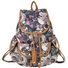 Floral bag causal school teen canvas backpack
