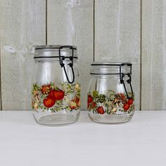 Bonjour,  Add some French charm to your kitchen with this vintage glass ARC canning/preserves jars with glass lid. Jar has so many uses ~ display
