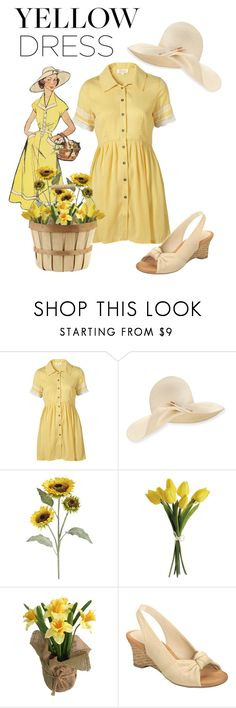 """""""Yellow Dress"""" by fashion-film-fun ❤ liked on Polyvore featuring Topshop, Eugenia Kim, Pier 1 Imports, SONOMA Goods for Life and Aerosoles"""