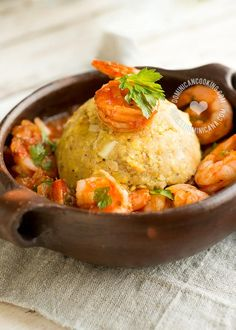 Camarofongo (Lighter, Non-Fried Garlicky Plantain and Shrimp) : latin, seafood