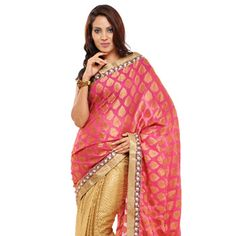 Magenta and Golden Viscose and Faux Georgette Saree with Blouse