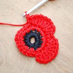 Crochet Flower Patterns Get those hooks out. here's a free Remembrance Poppy Crochet Pattern. - Get those hooks out. here's a free Remembrance Poppy Crochet Pattern. Poppy Crochet, Crochet Poppy Free Pattern, Crochet Puff Flower, Crochet Diy, Unique Crochet, Crochet Flower Patterns, Love Crochet, Crochet Motif, Crochet Crafts