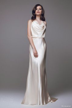 blumarine 2015 bridal collection champagne gold cowl neck blouson wedding dress