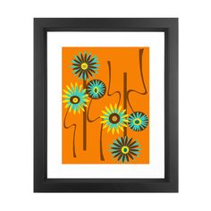 These bold flowers in bright turquoise and yellow are a fun way to liven things up.  Find the Atomic Flowers Print, as seen in the Retro Revival Collection at http://dotandbo.com/collections/retro-revival-1?utm_source=pinterest&utm_medium=organic&db_sku=SO60454