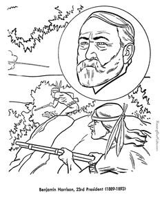 Free Printable President Benjamin Harrison Coloring Pages