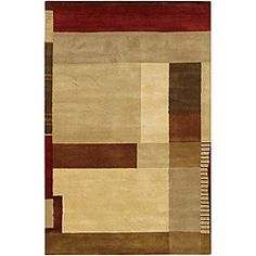 @Overstock - This stylish wool rug features a hand-tufted construction and plush 0.75-inch pile. This multi-color rug features a bold geometric design in cream, beige, gold, brown and burgundy.http://www.overstock.com/Home-Garden/Hand-tufted-Mandara-Multi-color-Wool-Rug-79-x-106/5088336/product.html?CID=214117 $484.99