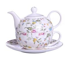 It's lovely! We think you will enjoy your delicious cup of hot tea even more when served from this beautiful fine bone china tea-for-one service. ++ Buy at DecorateTheSeason.com