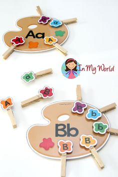 Alphabet Match (upper and lower case letters). Add pegs to work on fine motor skills.