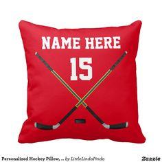 Shop Personalized Hockey Pillow, NAME, NUMBER, COLORS Throw Pillow created by LittleLindaPinda. Hockey Decor, Hockey Gifts, Hockey Mom, Ice Hockey, Boys Hockey Room, Hockey Girlfriend, Hockey Coach, Field Hockey, Cricut