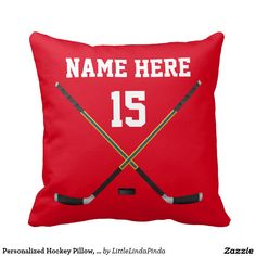 Personalized Hockey Pillow, NAME, NUMBER, COLORS Throw Pillow.  Insert your number on front and back of pillow.
