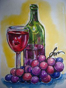 Watercolor Painting Grapes Wine Bottle Juice Glass Still Life 5x7 ...