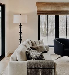 Black And White Living Room, Floor Lamp, Condo, Living Spaces, Neutral, Indoor, Curtains, Warm, Interior Design
