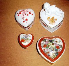 4 Valentine Porcelain Trinket Boxes ~ Heart Shaped Hand Painted Satsuma Cupid