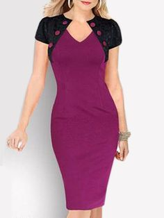 Appealing V Neck Lace Patchwork Bodycon-dress Bodycon Dresses from fashionmia.com