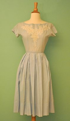 Vintage 1950s Shirt Waist Dress with Circle Skirt in Light Blue with Floral Lace Crochet Inlay Lace Trim - 50s Rockabilly Pinup Swing Dress. $74.00, via Etsy.