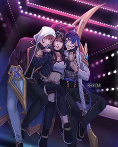 I think that's KDA Talon and Kayn with Akali ofc Lol League Of Legends, Akali League Of Legends, League Of Legends Characters, Fantasy Character Design, Character Art, League Of Legends Personajes, Gorillaz, People Art, Esports