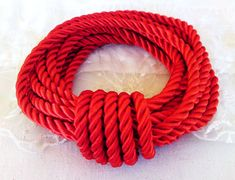 5mm Red Satin Twisted Cord, Wrapped Thread Cord, Rope Cord- 2 Yards/ 1,84m approx.(1 piece)