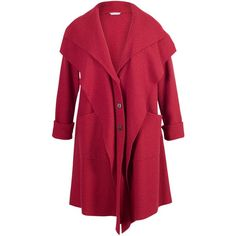 Chesca Double Collar Coat, Red (£155) ❤ liked on Polyvore featuring outerwear, coats, coats & jackets, jackets, plus size coat, leather-sleeve coats, plus size red coat, button coat, long sleeve coat and chesca