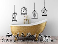 Bird Cages Wall Art Decal Set of 4 by threadink142 on Etsy, $58.95