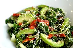 Kale, avocado, sundried tomato, sprouts and tahini dressing (June 13th)