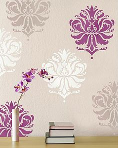 Try Damask stencils instead of pricey damask wallpaper! Our damask stencils are easy to use and very cost effective. Classic stencils, damask stencil patterns, wallpaper stencils for DIY decor. Wallpaper Stencil, Damask Stencil, Stencil Patterns, Stencil Designs, Damask Wall, Stencil Walls, Bird Stencil, Stencil Art, High Gloss Paint
