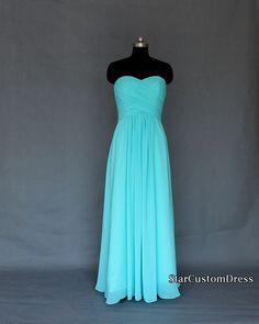 Robes de mariée longue bleu/menthe demoiselle d