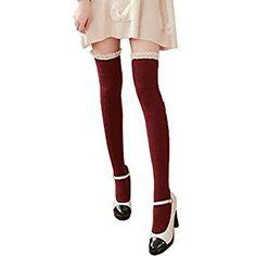 Overdose Women Girls Winter Knitting Cotton Long Socks Leg Warmer Crochet Over Knee High Sock Mad Hatter Halloween Costume, Crochet Leg Warmers, Stockings, Socks, Legs, Knitting, Winter, Cotton, Clothes