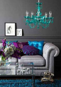 Living room jewel tones with white instead of grey.