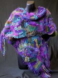 freeform makes me think of squished sea creatures and non-recyclable trash. Freeform knit/crochet wrap by Jenny Dowde