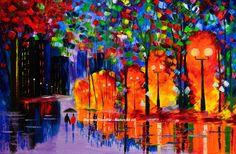 rainy night painting couple rain city street light by malorcka
