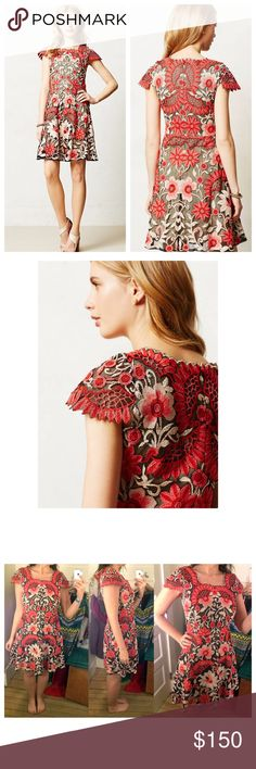 """Anthropologie Rare Crisantemo Dress 😍😍 Rare and hard to find but absolutely stunning! Yoana Baraschi Crisantemo Dress from Anthropologie❤️Style #4130077003611; Red Motif. Embroidered mesh cotton dress, new with tags. In excellent shape Size 4,Hidden back zipper, cap sleeved dress. Worn twice. 💕 Bust 17.5"""" approx Anthropologie Dresses"""