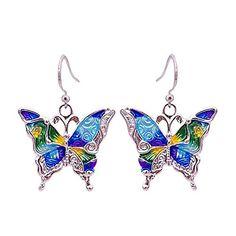Boho Blue and Yellow Enamel Silver Butterfly Drop Earrings for Women P Fragrance Direct, Fragrance Samples, Gypsy Jewelry, Body Jewelry, Silver Jewelry, Perfume Lady Million