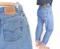 Vintage 90s Levi's 551 High Waisted Tapered Leg Jeans -Size 10- Stone Wash Medium Blue Baggy Women's Mom Jeans - 30 Waist