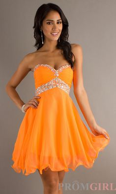 Short Strapless Chiffon Babydoll Prom Dress by Mori Lee Promgirl.com