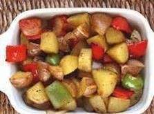 Italian Sausage w/ Potatoes   Ingredients  1 lb  italian sausage, mild or hot   4  potatoes   2  bell peppers, green, red, or both   1  onion    garlic powder, to taste    salt and pepper to taste   1/2 c  water