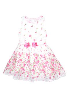 ShopMozo - White Dress with multicolor prints for girls (SM-00014) Kids Wear, Girl Frocks