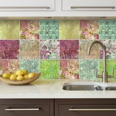 Wall Tiles Stickers Floral Patchwork Pack Of 36