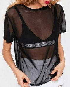 Blouses & Shirts Discreet 2019 Fashion Summer Women Sexy Sheer Mesh Fishnet Crop Tops Tee Short Sleeve Shirt Vest Blouse Blusa Mujer De Moda Plus Size Orders Are Welcome.