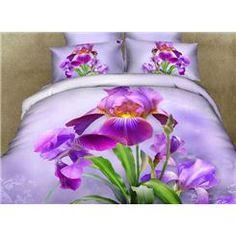 Purple Dutch Iris Print 3D Duvet Cover Sets