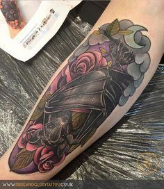 Cute Neo traditional bat and roses shin tattoo by Chessie Clear at Pride and…