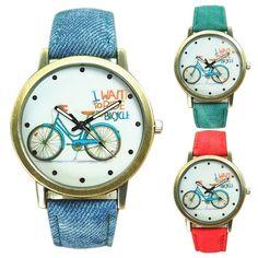 Fashionable Bike Bronze Jeans Frabric Band Quartz Analog Wrist Watch