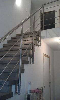 Stainless Steel Stair Railing, Staircase Railing Design, Modern Stair Railing, Balcony Railing Design, Railings, Glass Stairs Design, Steel Stairs Design, Door Gate Design, Home Stairs Design