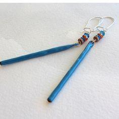 Stick Earrings Blue Earrings Enamel Jewelry Blue by OxArtJewelry,
