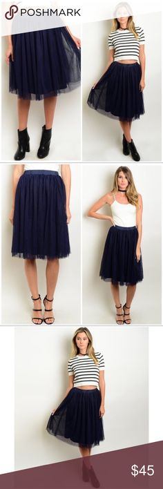 """Navy Blue Tulle Midi Party Elastic Waist Skirt NWT Navy blue tulle lined midi skirt is perfect for the season! The midi flowy skirt is fabricated of soft polyester & overlaid with layers of tulle forming a flowy & fairy visual impact! Features wide satin elastic waist & soft lining. 95% poly/5% spandex  *S (Waist 24"""") (Length 23"""" to lining/24"""" to tulle)  CHECK OUT WHITE & PINK TULLE SKIRTS IN MY CLOSET TO BUY & BUNDLE! Boutique Skirts Midi"""
